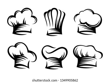 hand drawn set of chef and cook hats - Vector