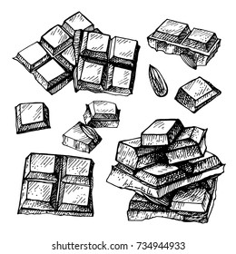 Hand drawn set of chocolate.Hand drawn chocolate bar broken into pieces, appetizing realistic drawing. illustration of choco bar on white background.