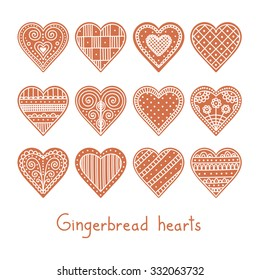 Hand drawn set of christmas gingerbread hearts. Cookie with doodle ornament. Vector.
