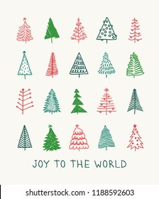 Hand drawn set of Christmas trees and Quote. Holidays background and Greetings. Abstract  doodle drawing woods and text. Vector art illustration