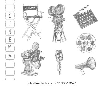 Hand drawn set of cinematography cinema and movie doodles. Vintage illustrations with director's chair, camera, clapper board, movie projector, microphone, film reel,  megaphone