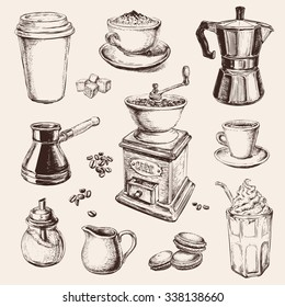 Hand Drawn Set Coffee Vector illustration