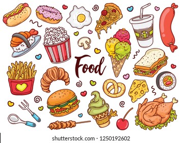 Hand drawn set of Color Food doodles in vector