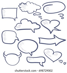hand drawn set of color speech and thought doodle icons. graphic vector illustration