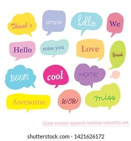 Hand drawn set of Colorful speech bubbles with dialog words,Vector bubbles speech doodle set