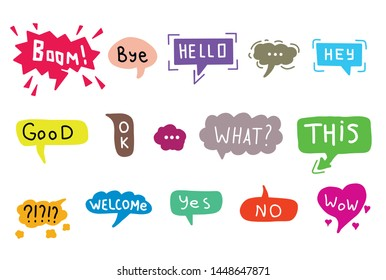 Hand drawn set of colorful speech bubbles with dialog words. Vector bubbles speech doodle.