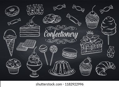 Hand drawn set confectionery and sweets icons on chalkboard. Dessert, lollipop, ice cream with candies, macaron and pudding. Donut and cotton candy, muffin, waffles and jelly. Vector illustration.