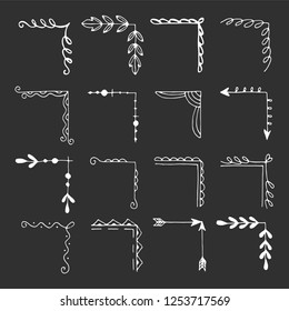 Hand drawn set of corner with different shapes: flourish, flower decoration. Isolated vector illustration for wedding, greeting banner design. Doodle sketch style. Corners drawn by brush-pen.