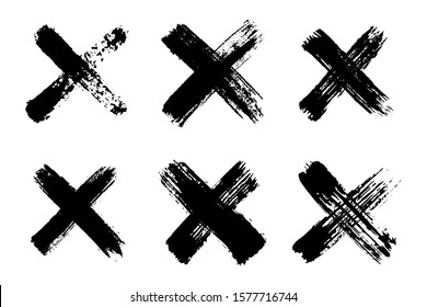 Hand drawn set of cross brush strokes.X black stripes collection. Cross sign graphic symbol. Vector