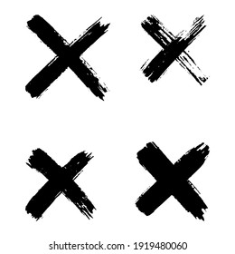 Hand drawn set of cross brush strokes. X black stripes collection. Cross sign graphic symbol. Vector illustration