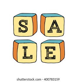 Hand drawn  set of cubes with letters SALE. Banner for shopping mall. Vector illustration. Doodle sketch. SALE advertising for shops.