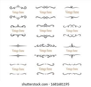 Hand drawn set of decorative frames, borders, page decoration calligraphic design elements. vintage vector illustration