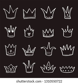 Hand drawn set of different crown and tiara for princess. Cut isolated vector illustration for icon, logo, wallpaper design. Doodle sketch style. Crown element drawn by brush-pen.