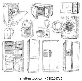 Hand drawn set of different household appliances. Vector illustration of a sketch style.