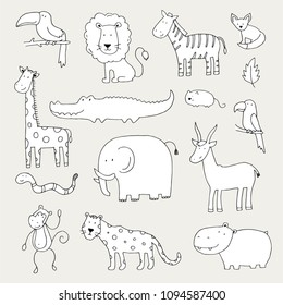 Hand drawn set of different jungle animals: elephant, lion, zebra, crocodile, giraffe. Cute vector illustration for baby's, kid's textule, fabric, wallpaper design. Cartoon doodle sketch style.