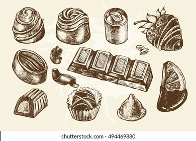 Hand drawn set of different kinds of chocolate. Assorted candies. Food elements collection  for design, Vector illustration.