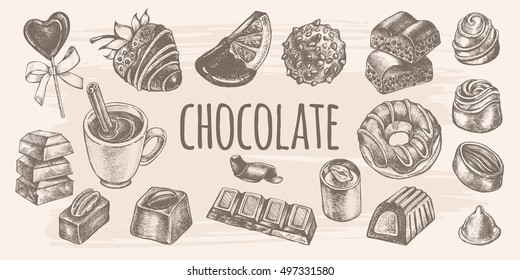 Hand drawn set of different kinds of chocolate. Assorted candies.  Chocolate bars, fondue, hot chocolate. Food elements collection for design, Vector illustration.