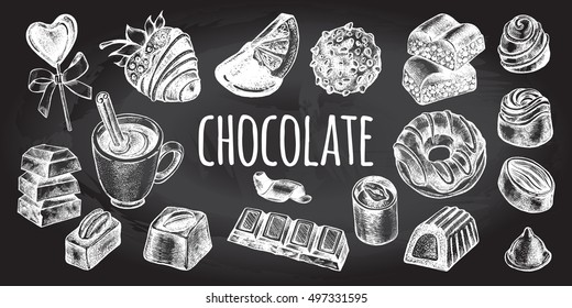 Hand drawn set of different kinds of chocolate. Assorted candies.  Chocolate bars, fondue, hot chocolate. Food elements collection for design, Vector illustration. Poster on the chalkboard.