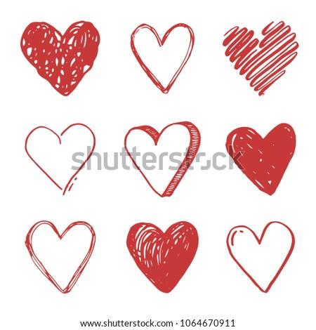 Hand Drawn Set Different Love Symbols Stock Vector Royalty Free