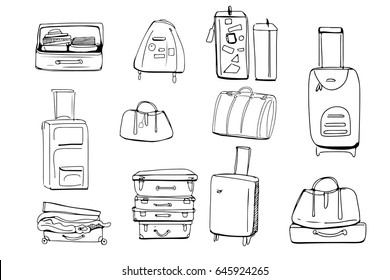 Hand drawn set of different travel bags and suitcases. Vector illustration
