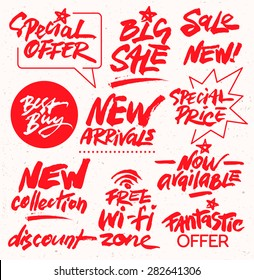 Hand Drawn Set of Discount Design Elements