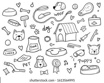 Hand drawn set of dog and pet accessories elements: bone, food, leash. For the design of dog themes: training, caring, grooming a dog. Doodle sketch style vector illustration.
