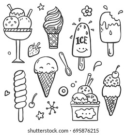 Hand drawn set of doodle with different ice cream types: waffle cone, cup ice cream, popsicle, sundae. Sketch style vector illustration for cafe menu, card, birthday card decoration.