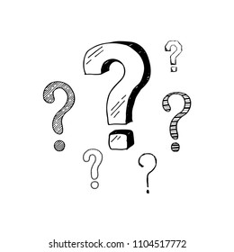 Hand drawn set of doodle question marks. Vector illustration for your icon, background, wallpaper design. Cartoon sketch style interrogation ask questions drawn by pen and marker.