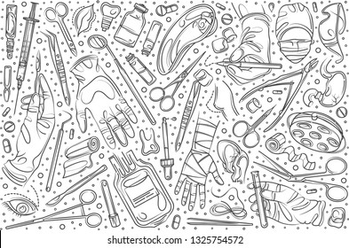 Hand drawn set doodle vector illustration background