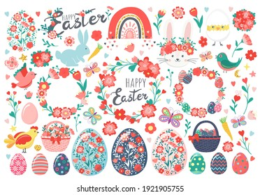 Hand drawn set of Easter eggs, chicken, rabbit, bunny, chick in eggshell, flowers, butterfly, wreaths, baskets, carrots, rainbow, hearts, birds, leaves, stars, text. Happy Easter holiday illustration
