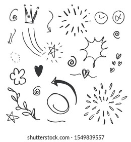 hand drawn set element,black on white background.arrow,heart,love,star,leaf,sun,light,flower,daisy,crown,king,queen,swishes,swoops,emphasis,swirl,heart,for concept design