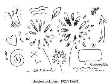 hand drawn set element,black on white background.panah,leaves,speech bubble,heart,light,king,emphasis,swirl,for concept design.