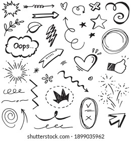 Hand drawn set elements, Abstract arrows, ribbons, hearts, stars, crowns and other elements in a hand drawn style for concept designs. Scribble illustration. Vector illustration.