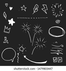 Hand drawn set elements. Arrow, heart, love, speech bubble, star, leaf, sun,light,check marks ,crown, king, queen,Swishes, swoops, emphasis ,swirl, heart, on black background.
