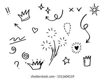 Hand drawn set elements. Arrow, heart, love, speech bubble, star, leaf, sun,light,check marks ,crown, king, queen,Swishes, swoops, emphasis ,swirl, heart, for concept design.