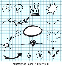 Hand drawn set elements, black on white background. Arrow, heart, love, star, leaf, sun, light, flower, daisy,  crown, king, queen,Swishes, swoops, emphasis ,swirl, heart, for concept design.