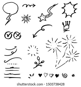 Hand drawn set elements, black on white background. Arrow, heart, love, star, leaf, sun, light, flower, crown, king, queen,Swishes, swoops, emphasis ,swirl, heart, for concept design.