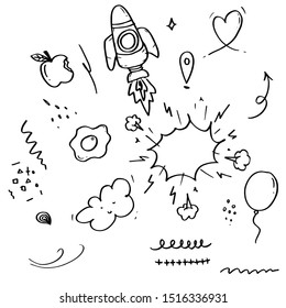 Hand drawn set elements, black on white background. Arrow, heart, love, star, leaf, sun, light,Swishes, swoops, emphasis ,swirl,apples, gps , clouds, balloons, speech bubbles, for concept design.