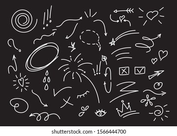 Hand drawn set of elements, black on white background. Arrows, hearts, stars, leaf, sun, light, flower, crown of king or queen for concept design.