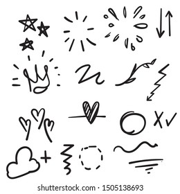 Hand drawn set elements cartoon black on white background