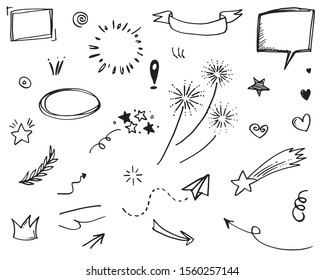 Hand drawn set elements, for concept design. doodle abstract isolated on white background . vector illustration.