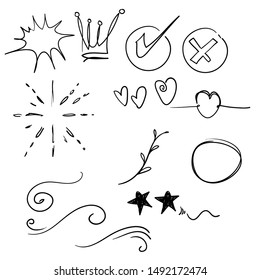 Hand drawn set elements,Arrow, heart, love, star, leaf, sun, light, flower, daisy, crown, king, queen,Swishes, swoops, emphasis ,swirl, heart, for concept design cartoon style