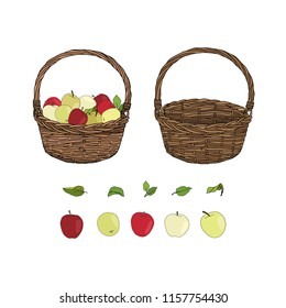 Hand drawn set of empty basket, basket with apples and leaves. Basket with different kinds of apples isolated on white background. Autumn harvest symbol, logo, emblem. Natural food for farmers market.