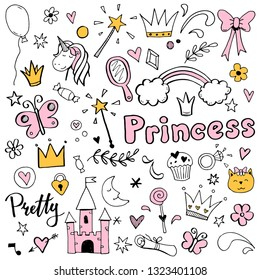 Hand drawn set of fairy tale and magic princess elements: crown, pony, star, tiara, mirror. Cut isolated vector illustration for girl themes design. Doodle sketch style element drawn by brush-pen.