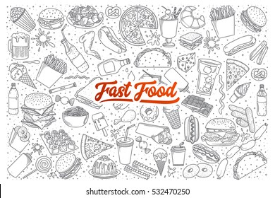 Hand drawn set of fast food doodles with lettering in vector