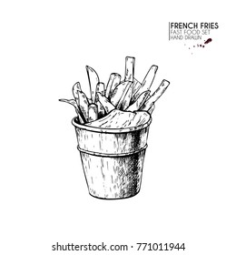 Hand drawn set of fast food. Bucket of french fries potato. Vintage engraved vector illustration. Isolated on white. For restaurant, menu, street food, bakery, cafe, logo, flyer, banner