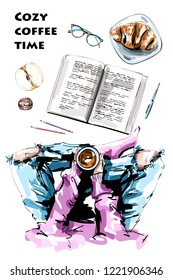 Hand drawn set with female legs, hands holding coffee cup, book, apple, nut, eyeglasses, pen, pencils and croissant. Stylish flat lay. Sketch.