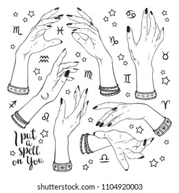 Hand drawn set of female witches hands in different poses. Flash tattoo, sticker, patch or print design vector illustration