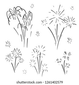 Hand drawn set of fireworks. Curly swishes, swashes, swoops. Doodle swirl. Isolated vector illustration on white background.