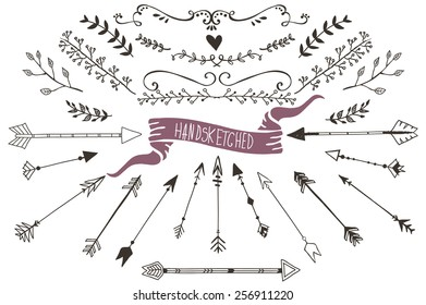 Hand drawn set of floral and decorative elements